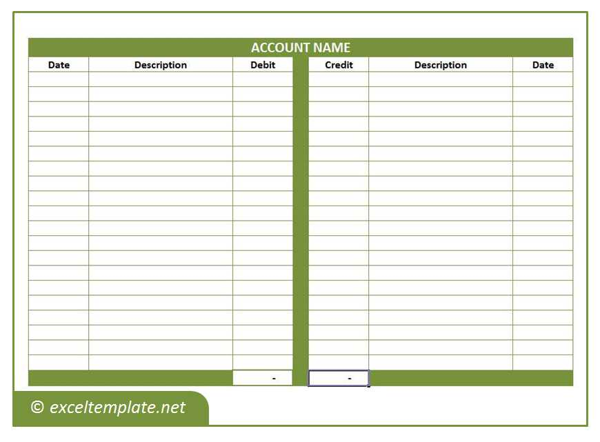 General Ledger Excel Templates - ledger accounts template