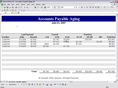 Accounts Payable Aging Accounts Payable Form