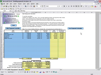 Debt Repayment Calculator Excel Template