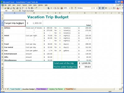 Vacation Trip Planner Vacation Trip Planner Template - vacation budget spreadsheet