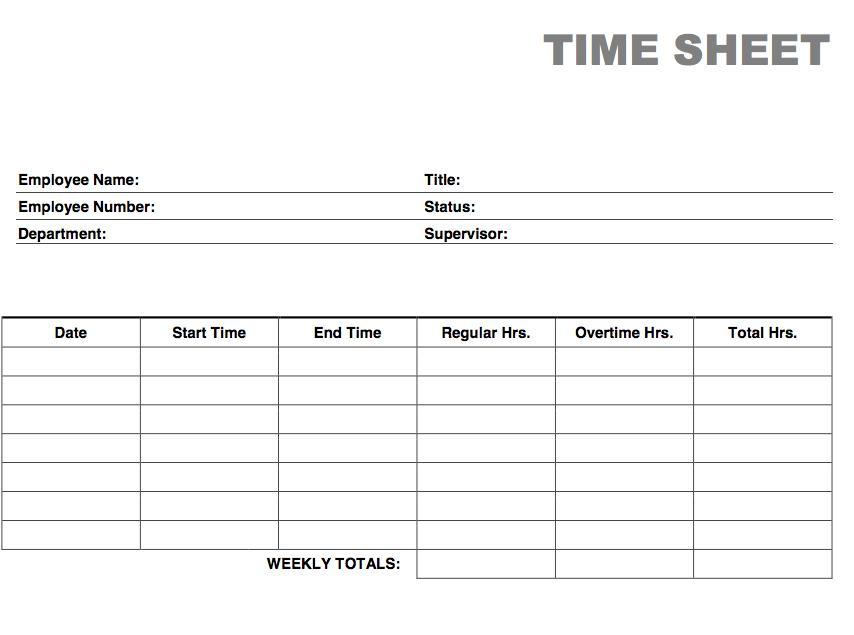 Blank Printable Time Card