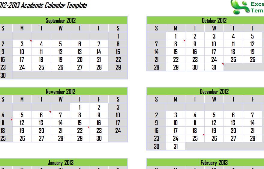 Free 2013 Academic Calendar Template Academic Calendar 2013 - academic calendar template