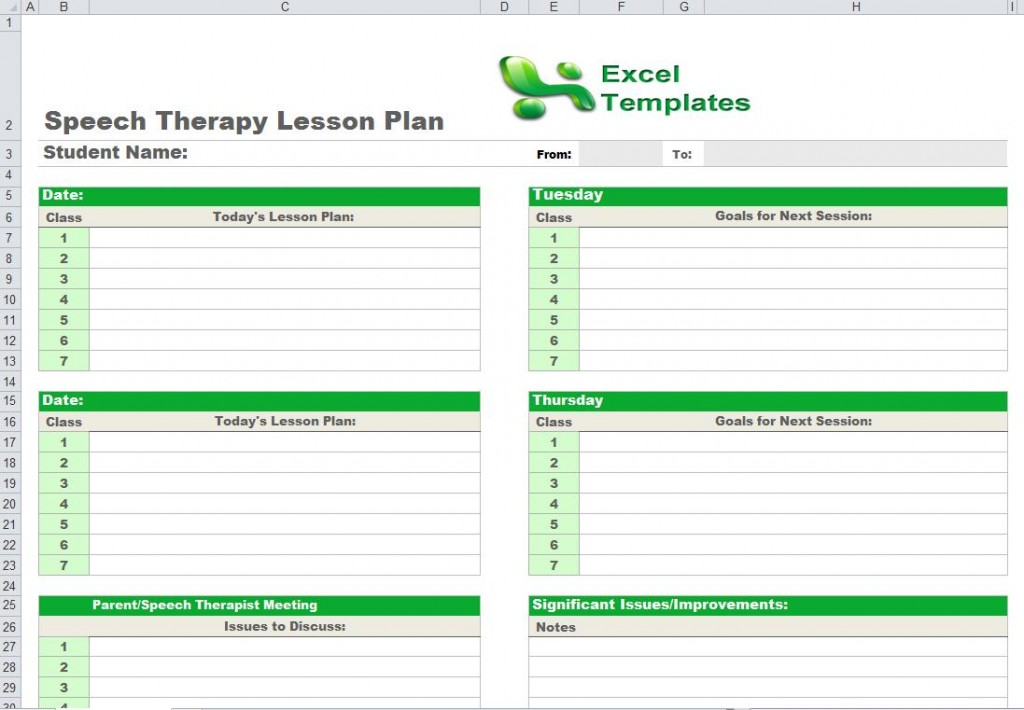 Fantastic Speech Therapy Schedule Template Mold Professional