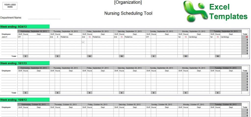 Examples of Nurse Staffing Schedules Nursing Schedules