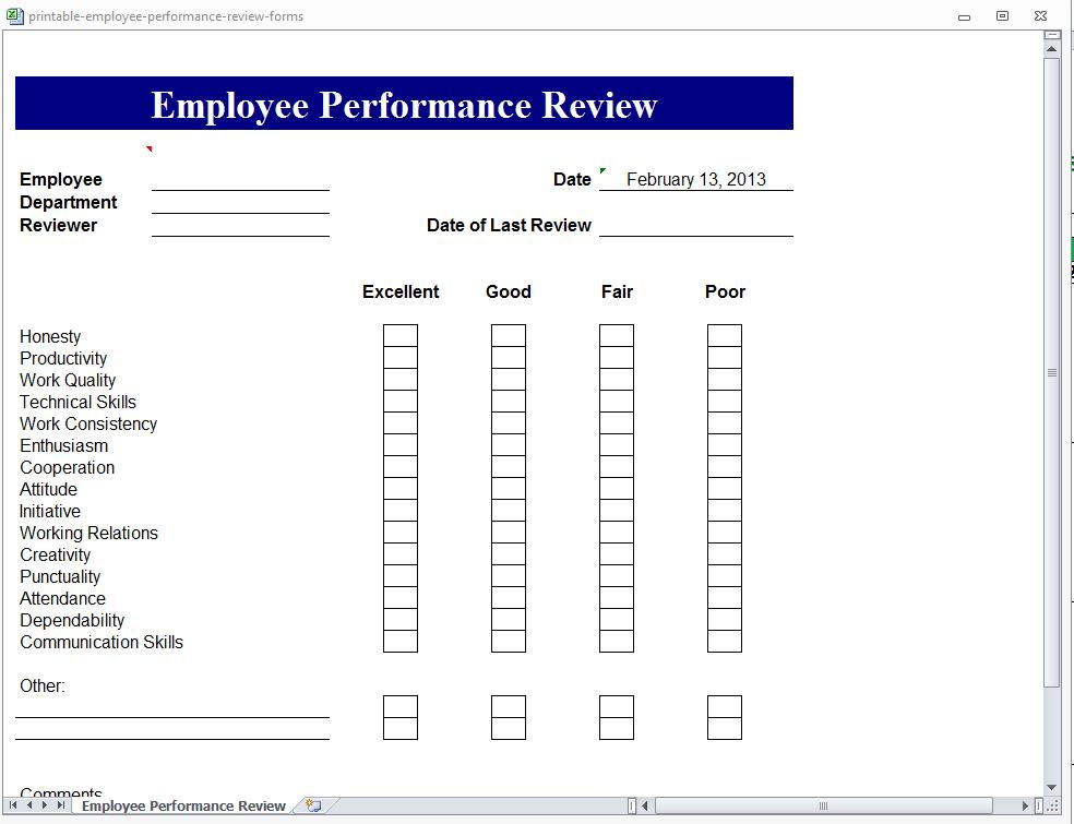 free employee review form template - employee review form