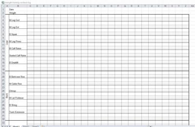 Workout Log Sheet Template