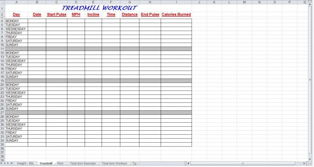 Total Gym Workout Plan Spreadsheet