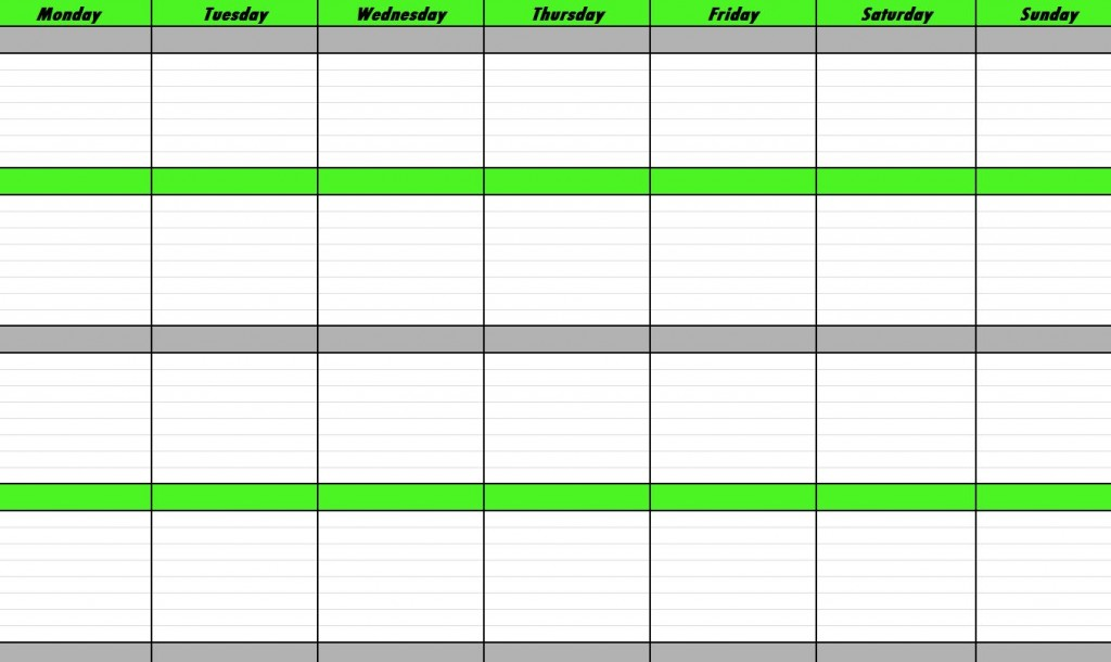 weekly schedule template - monday to sunday schedule template
