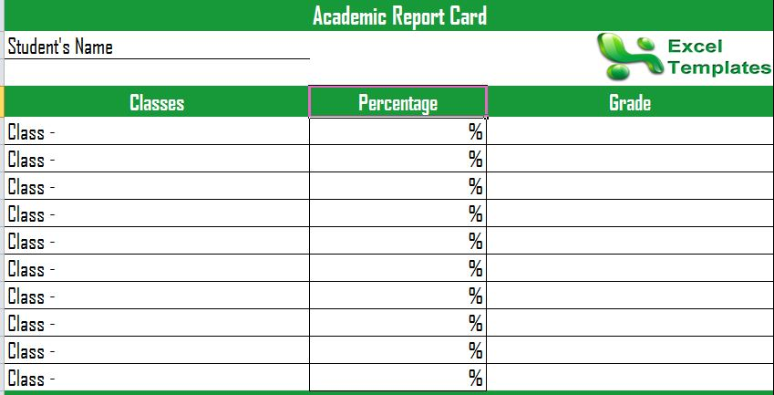Report Card Template Printable Report Cards