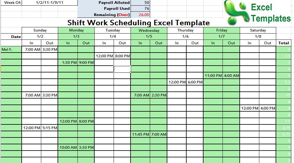 Employee Work Schedule Template Colbro