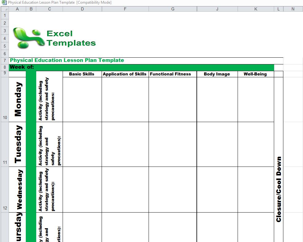 Physical Education Lesson Plan Template PE Lesson Plan Template