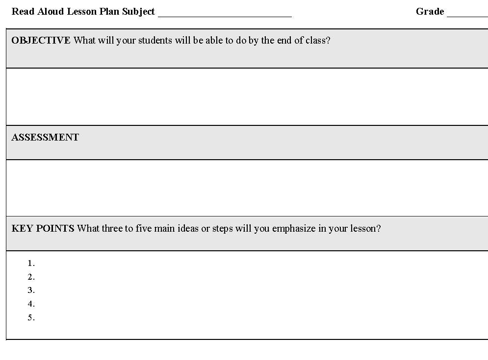 Read Aloud Lesson Plan Template Read Aloud Lesson Plan