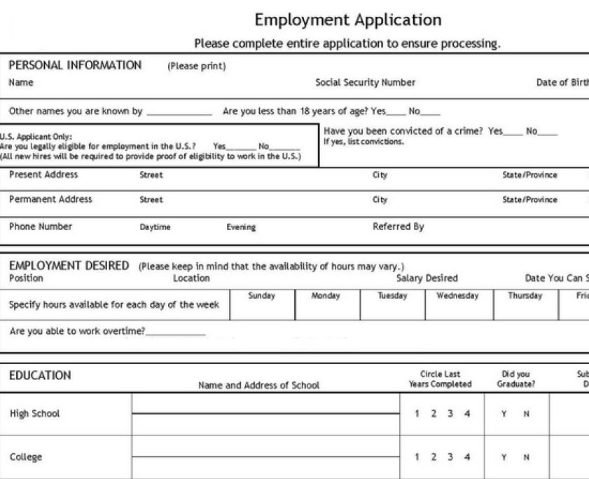 Job Application Template Free Job Application Template
