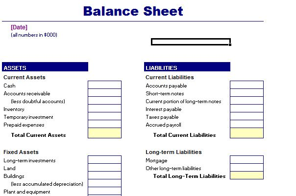 Balance Sheet Template Balance Sheet Sample