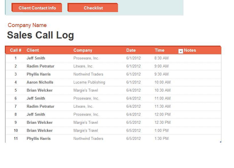 Call Log Spreadsheet Sales Call Log Sheet