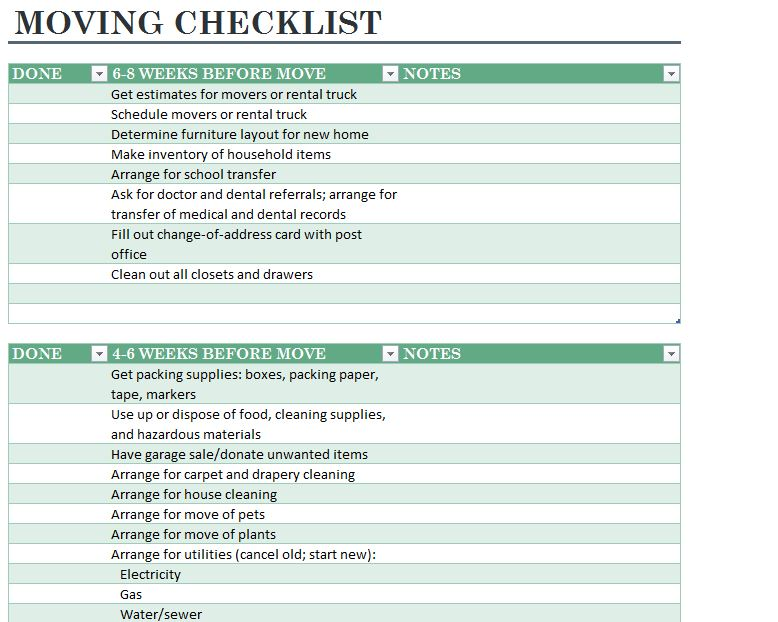 Home Moving Checklist Moving Checklist Printable