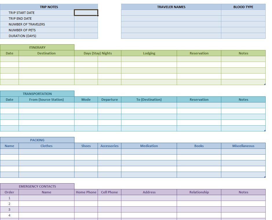 Excel Vacation Schedule Template - mandegarinfo