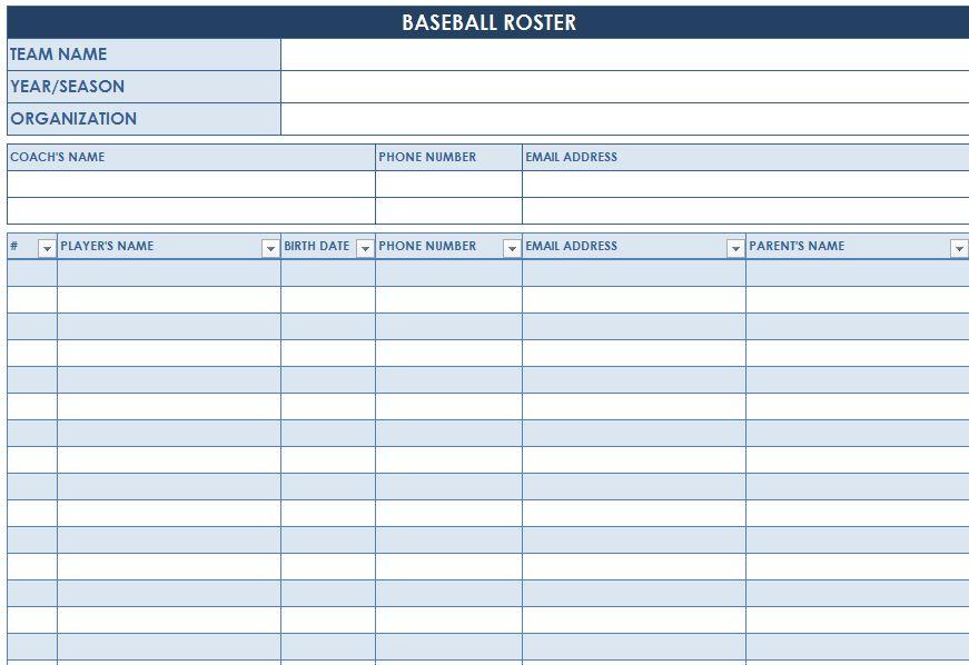Baseball Roster Template Baseball Lineup Templates