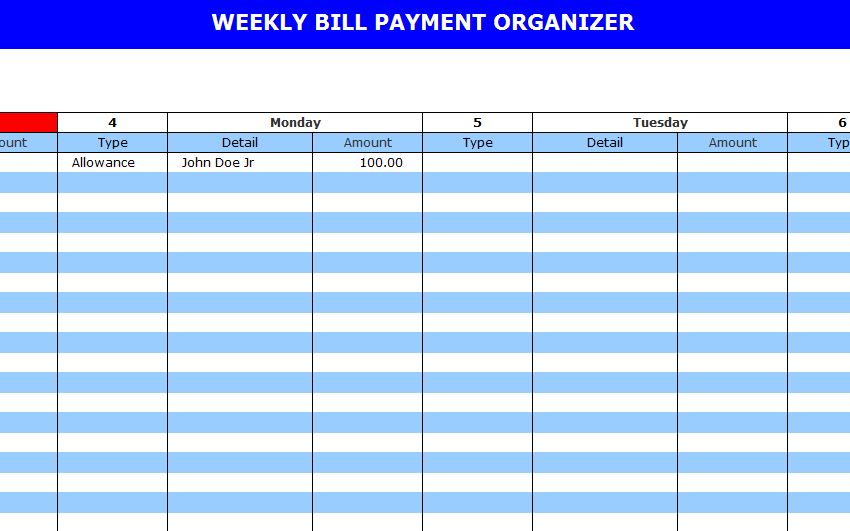 Bill Pay Calendar Template Bill Payment Calendar