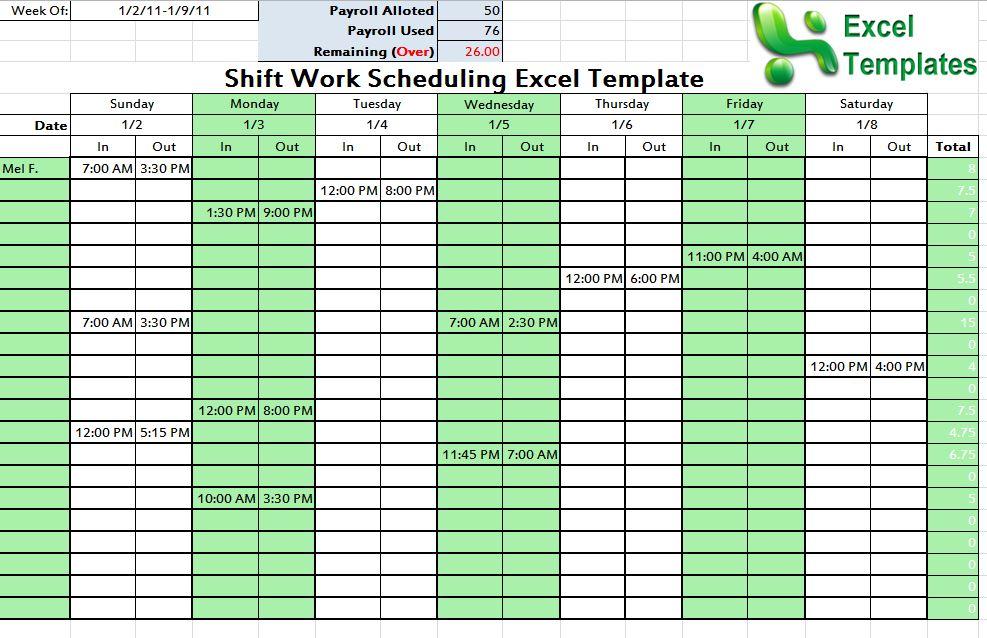 Shift Schedule Template Shift Scheduling