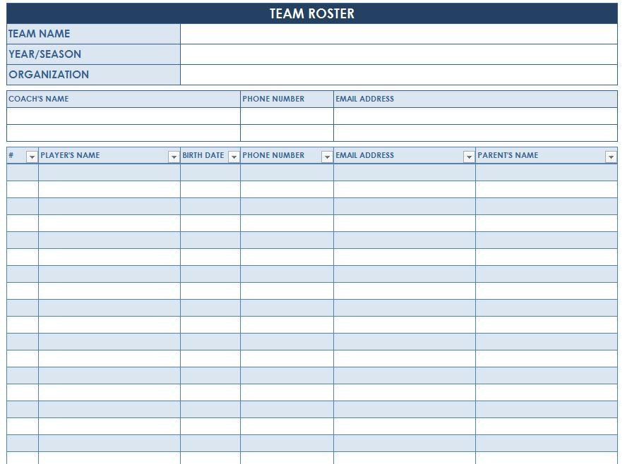 Soccer Roster Template Soccer Team Roster Template - Sports Roster Template