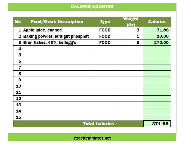 food calorie spreadsheet - Towerssconstruction