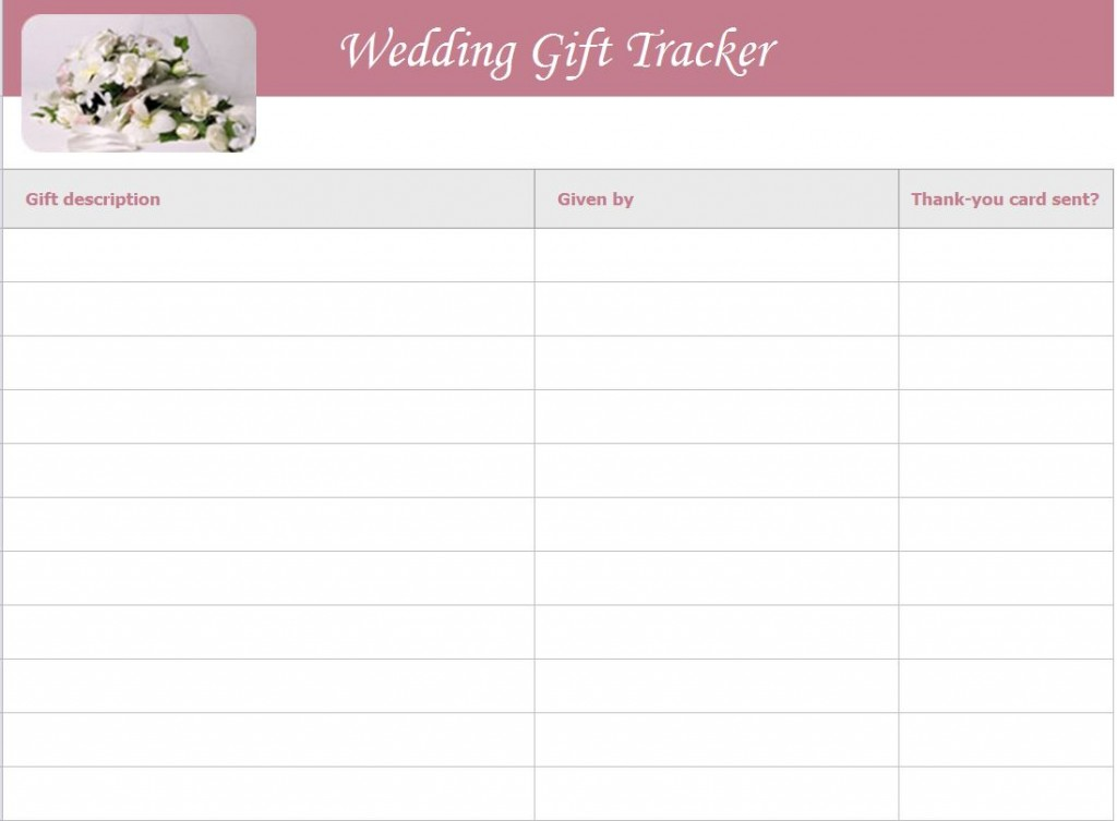 Wedding Gift List Template Wedding Gift Tracker