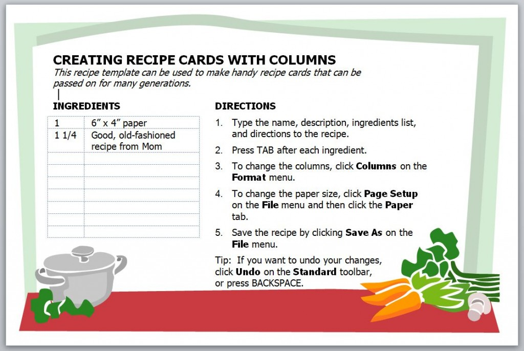 Recipe Card Template Recipe Card Template for Word - card templates for word
