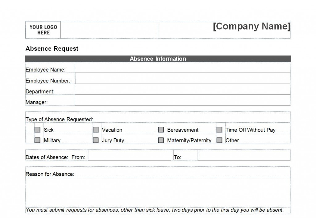 Time Off Request Form Day Off Request Form