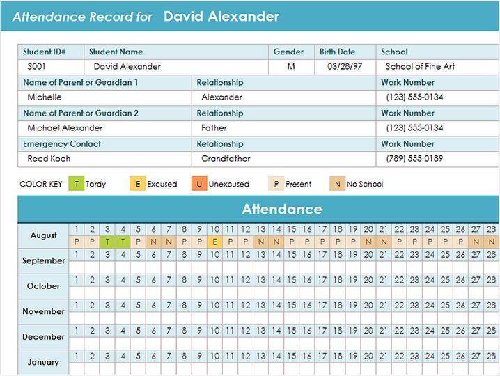 excel student attendance sheet template - attendance report template