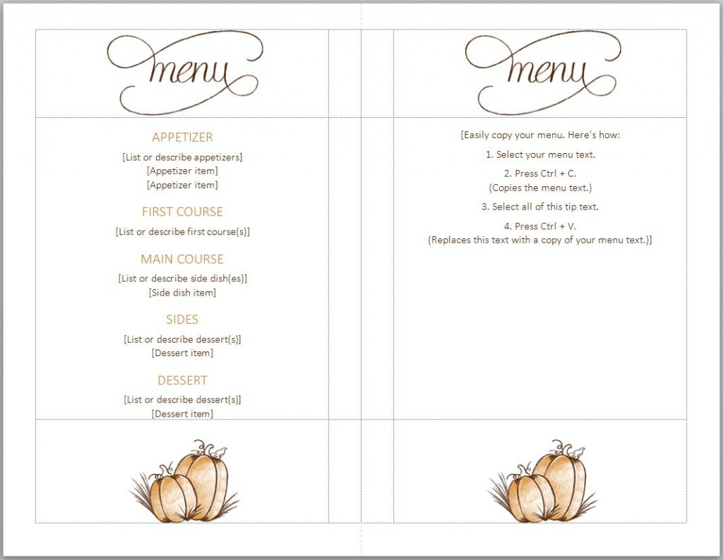 menus templates free costumepartyrun