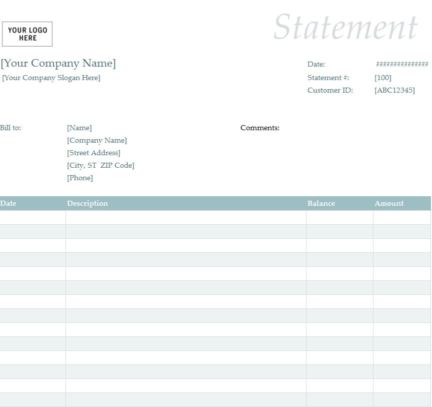 Billing Statement Template Billing Statement Form