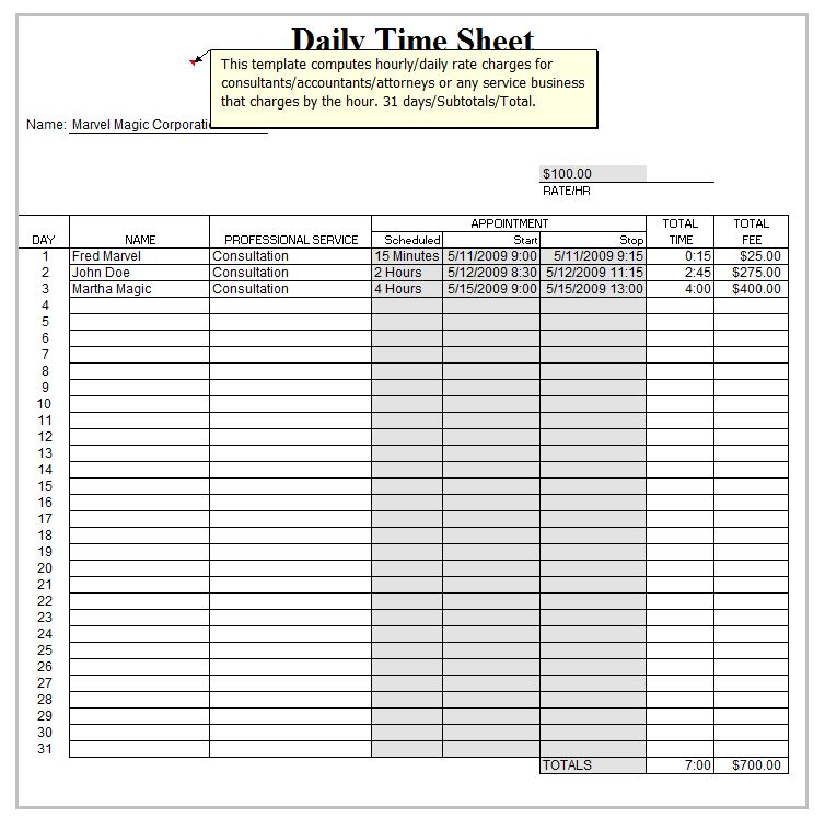 Excel Daily Timesheet Template Daily Timesheet Template Excel