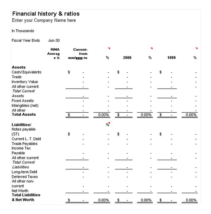 Financial History and Ratios Template Free