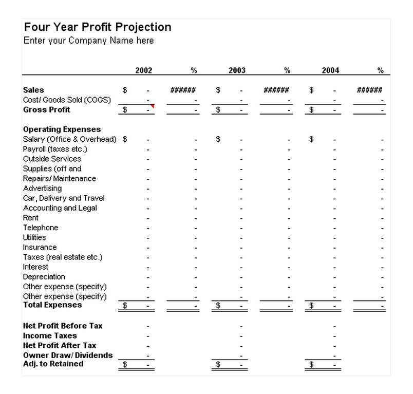 Four Year Profit Projection Template
