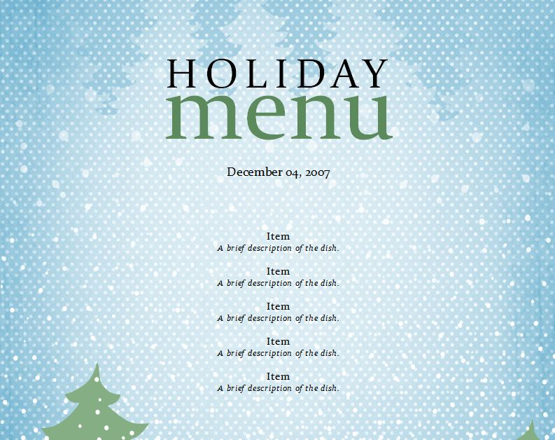 christmas dinner menu templates free - dinner menu templates free