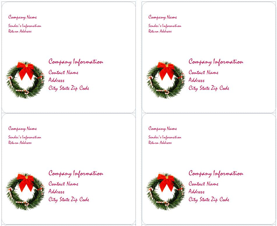 holiday address label templates - Doritmercatodos - free christmas return address labels template