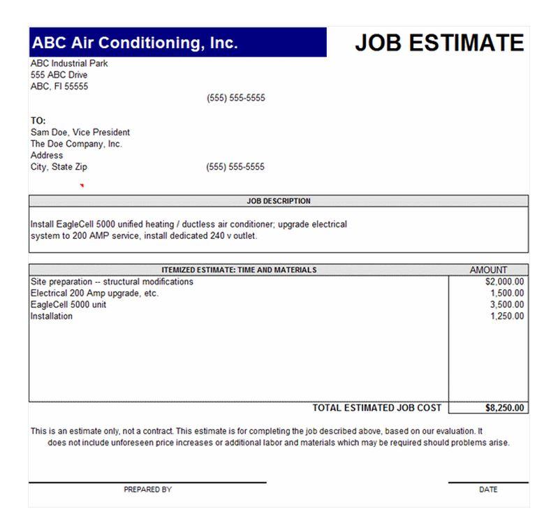 Doc578750 Business Estimate Template Job Estimate Template – Job Estimate Template