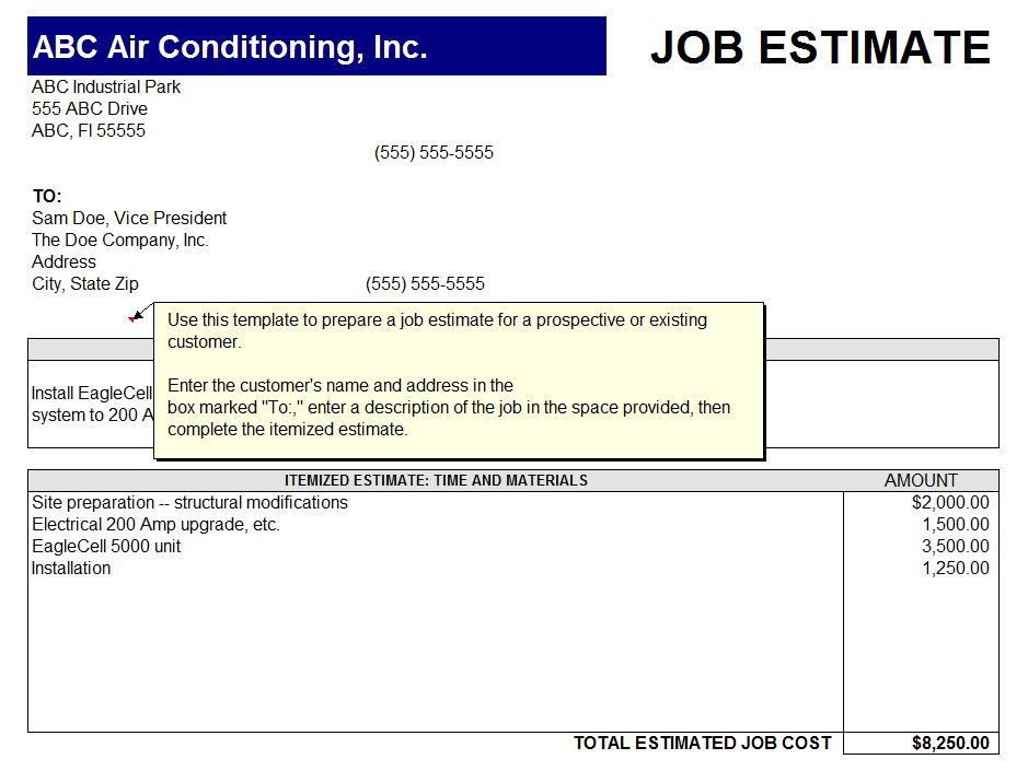 Printable Job Estimate Sheet Printable Job Estimate Form