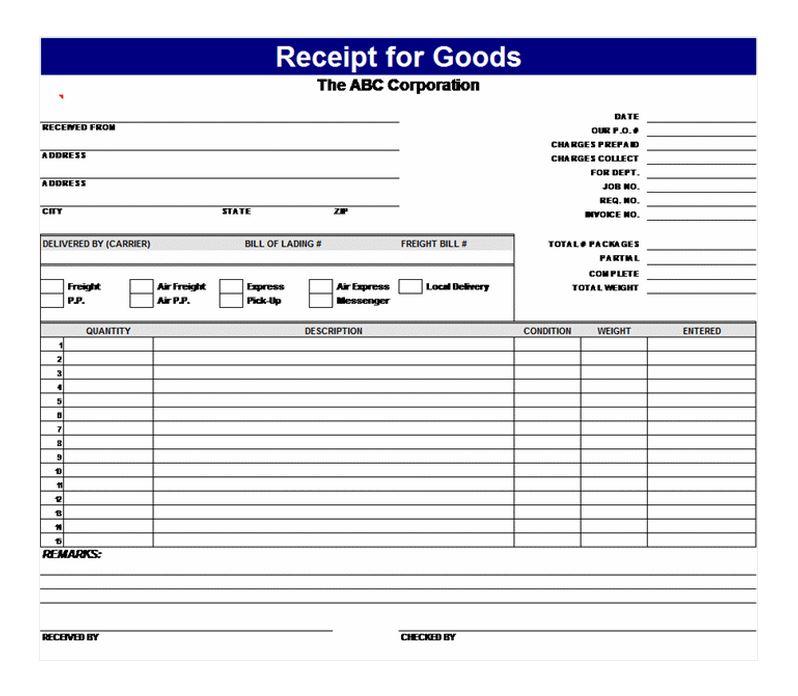 Receipt for Goods Receipt for Goods Template