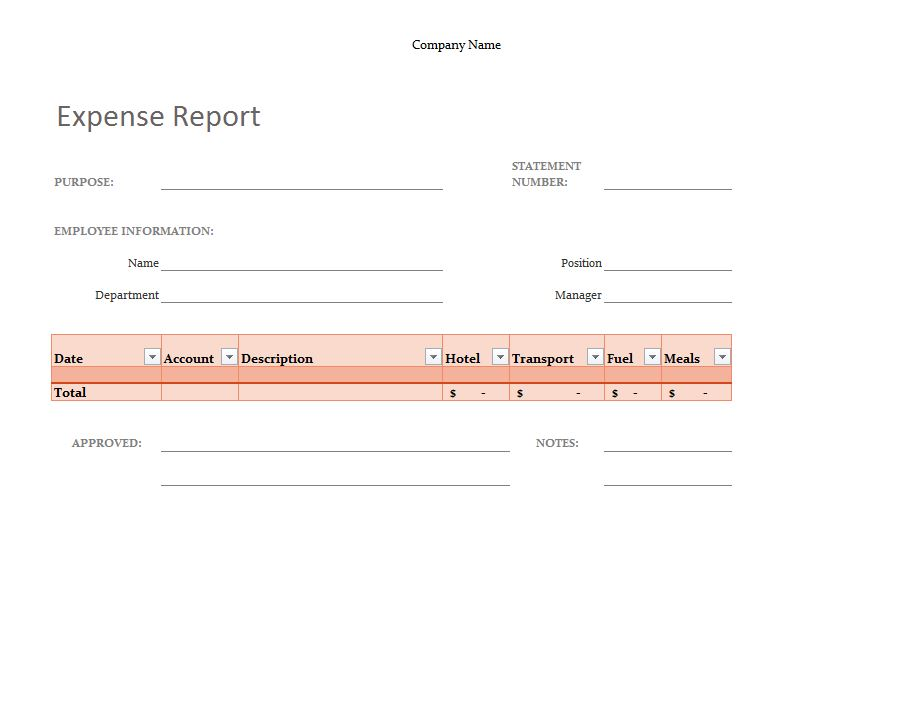 Simple Expense Report Template Simple Expense Report