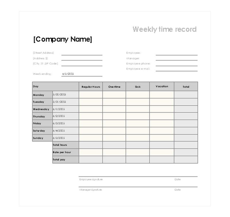 Vacation Schedule Template Vacation Timesheet Template