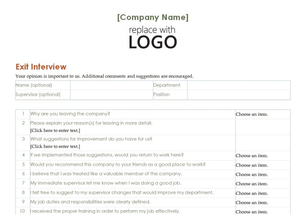Employee Exit Interview Template Employee Exit Interview Word