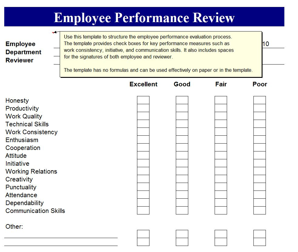 Performance Evaluation Form Templates Pdf | Sample Customer ...