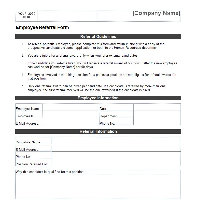 Commercial Driver Application Employee Referral Form Employee Referral Form Template