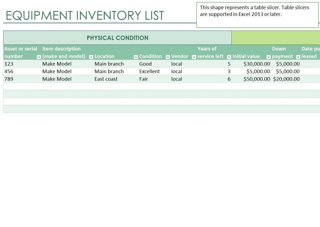 Office Equipment Office Equipment Inventory List