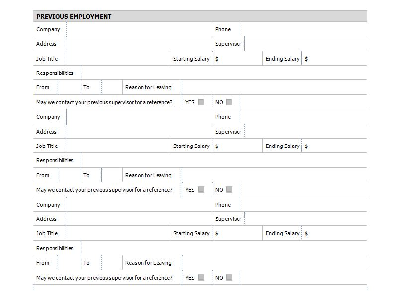 employment application form template - employment application forms