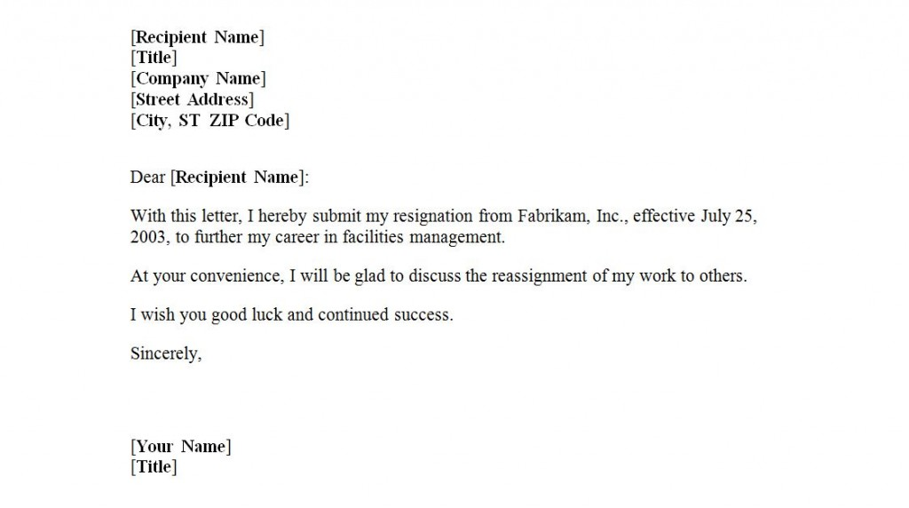 Letter of Resignation Template Letter of Resignation