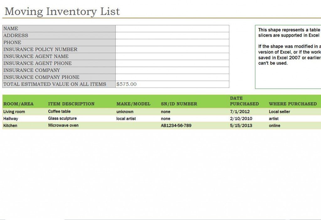 Moving Inventory List Moving Inventory List Template
