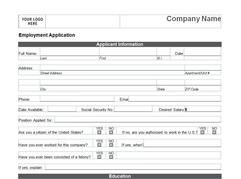 Printable Job Application Printable Job Application Form